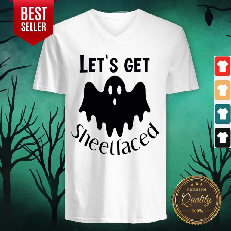 Let's Get Sheetfaced Ghost Halloween V-neck