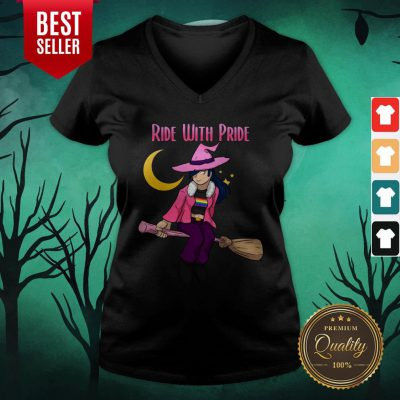 Ride With Pride LGBT Witch Funny Lesbian Halloween V-neck