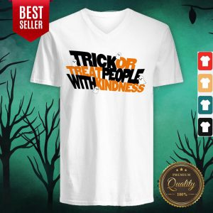 Trick Or Treat People With Kindness Ghost Halloween V-neck