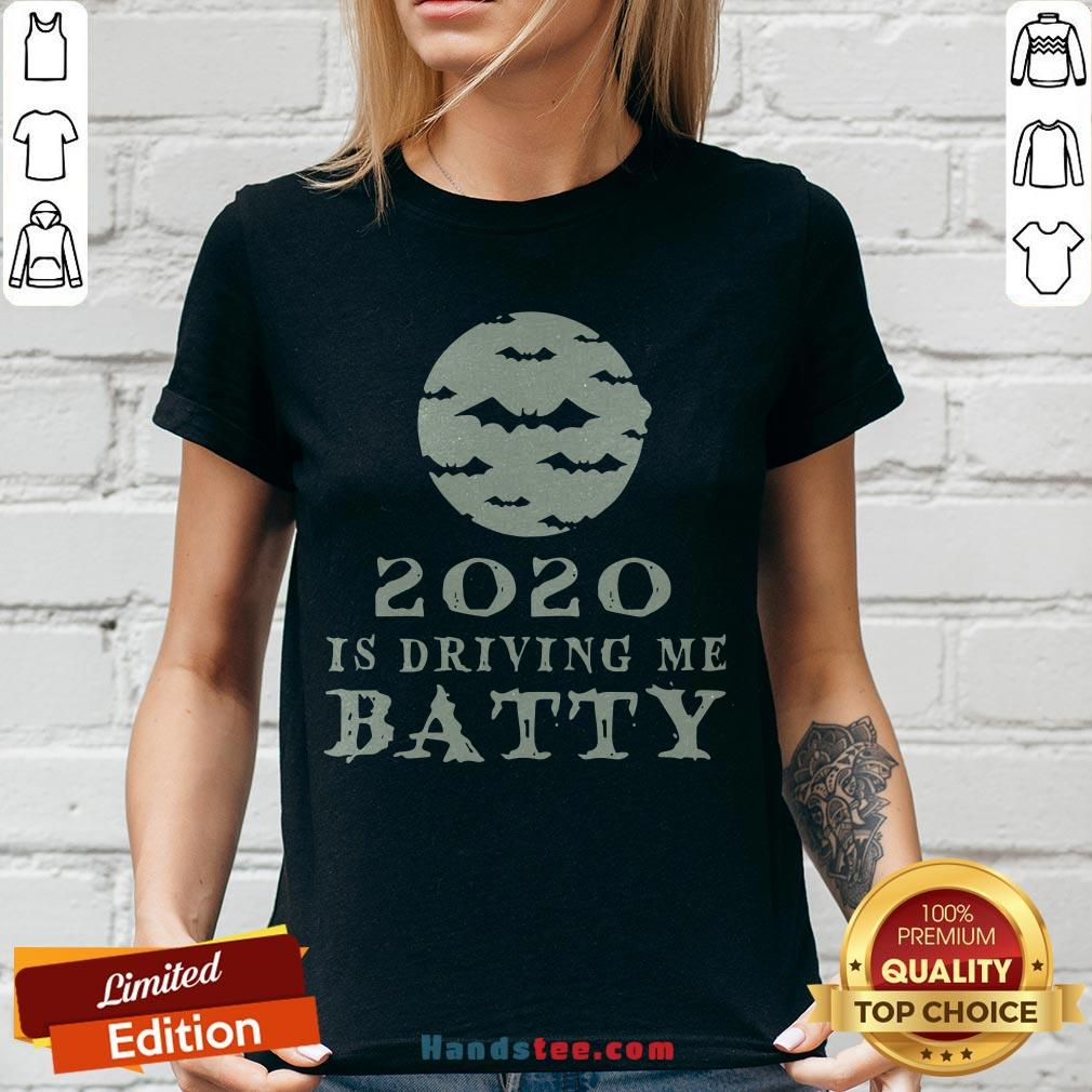 Funny 2020 Is Driving Me Batty Halloween V-neck - Design By Handstee.com