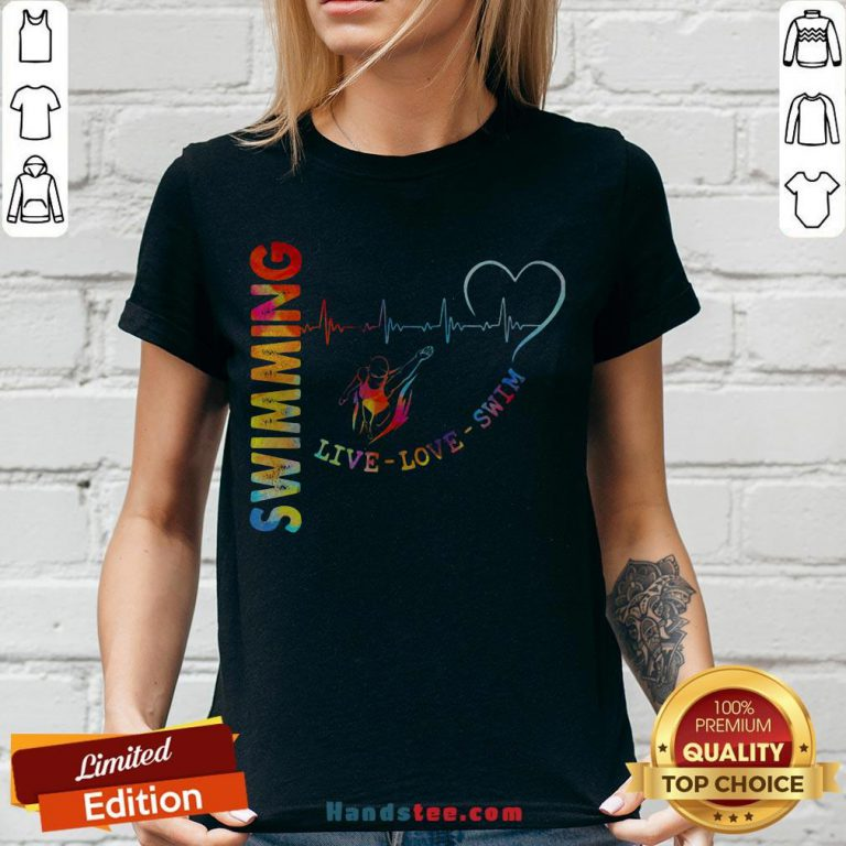 Colorful Swimming Live Love Swin Heart Beat V-neck - Design By Handstee.com