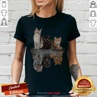 Awesome The Cats Water Mirror Reflection Tigers V-neck - Design By Handstee.com