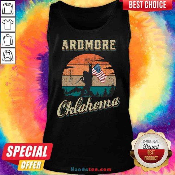 Awesome Ardmore Oklahoma Bigfoot Vintage American Flag Tank-Top- Design By Proposetees.com