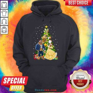 Awesome Beauty And The Beast Christmas Tree Hoodie- Design By Proposetees.com