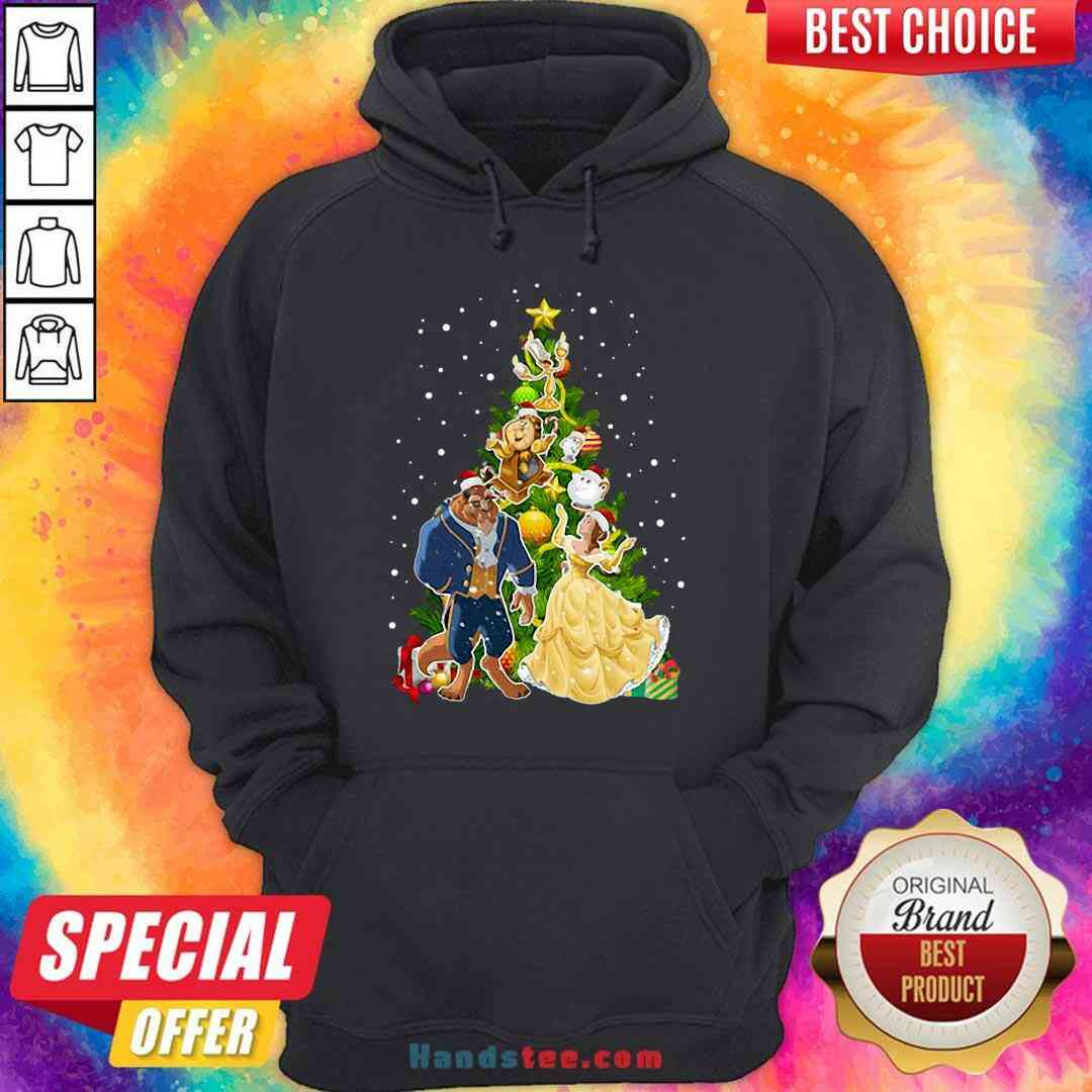 Awesome Beauty And The Beast Christmas Tree Hoodie- Design By Handstee.com