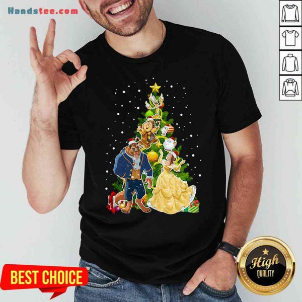 Awesome Beauty And The Beast Christmas Tree Shirt- Design By Proposetees.com