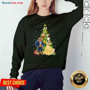 Awesome Beauty And The Beast Christmas Tree Sweatshirt- Design By Proposetees.com