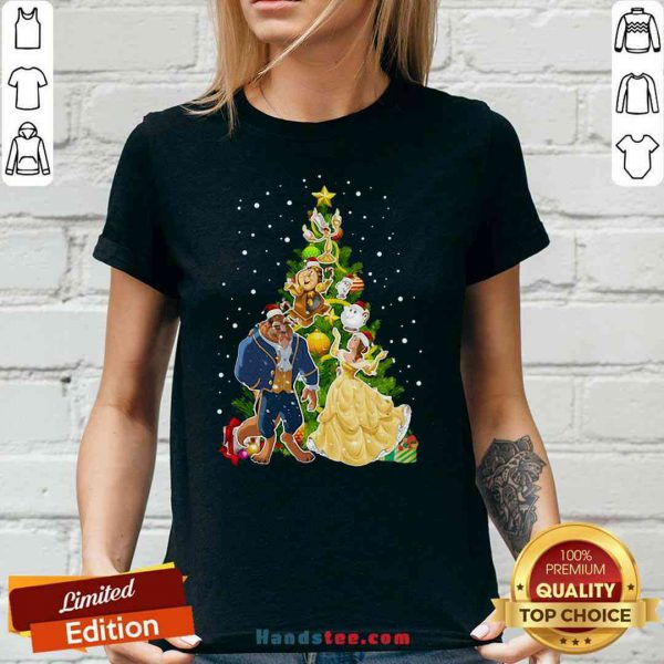 Awesome Beauty And The Beast Christmas Tree V-neck- Design By Proposetees.com