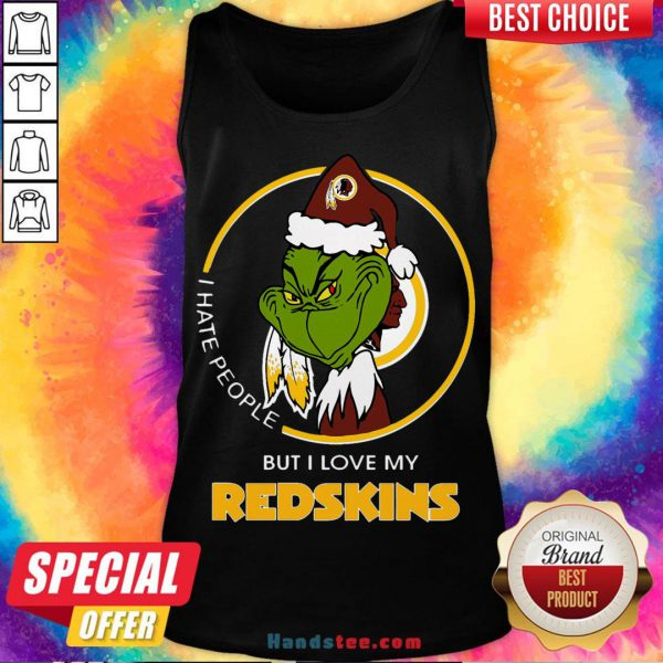 Awesome I Hate People But I Love My Washington Redskins Grinch Tank Top- Design By Handstee.com