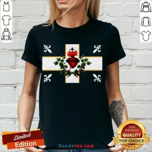 Awesome Sweat Canada Sacre Coeur Carillon Catholique Francais Flag Royal Quebec V-neck- Design By Handstee.com