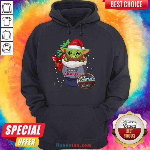 Funny Cleveland Cavaliers Christmas Baby Yoda Star Wars Funny Happy NBA Hoodie- Design By Proposetees.com