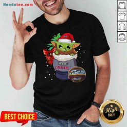 Funny Cleveland Cavaliers Christmas Baby Yoda Star Wars Funny Happy NBA Shirt- Design By Proposetees.com