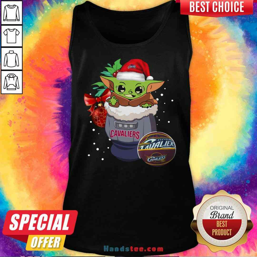 Funny Cleveland Cavaliers Christmas Baby Yoda Star Wars Funny Happy NBA Tank-Top- Design By Proposetees.com