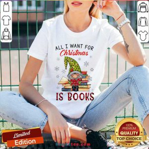Funny Gnome All I Want For Christmas Is Books V-neck- Design By Handstee.com