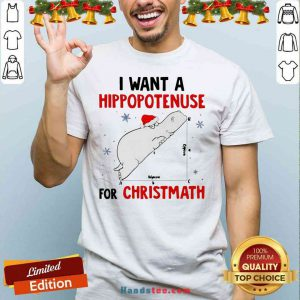 Funny I Want A Hippopotenuse For Christmath Shirt- Design By Proposetees.com