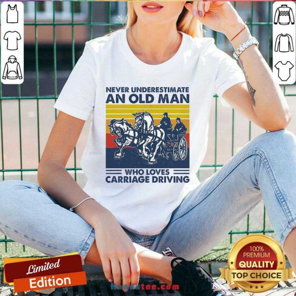 Funny Never Underestimate An Old Man Who Loves Carriage Driving Vintage V-neck- Design By Handstee.com
