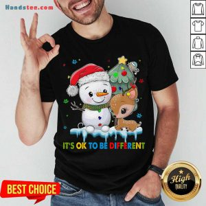 Funny Snowman And Reindeer Autism It's Ok To Be Different Christmas Shirt- Design By Handstee.com