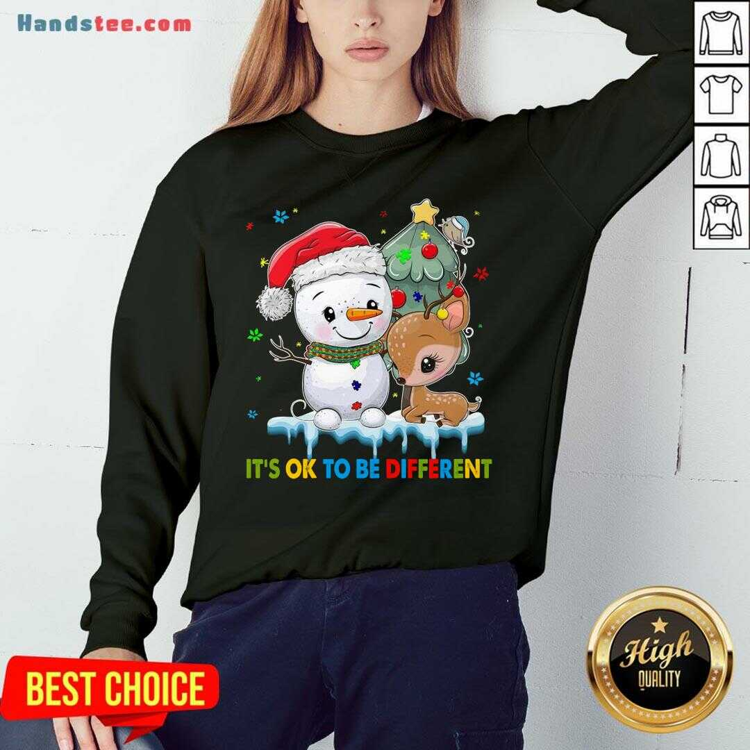 Funny Snowman And Reindeer Autism It's Ok To Be Different Christmas  Sweatshirt- Design By Handstee.com