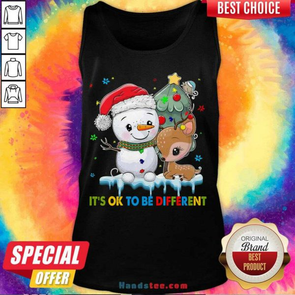 Funny Snowman And Reindeer Autism It's Ok To Be Different Christmas Tank Top- Design By Handstee.com