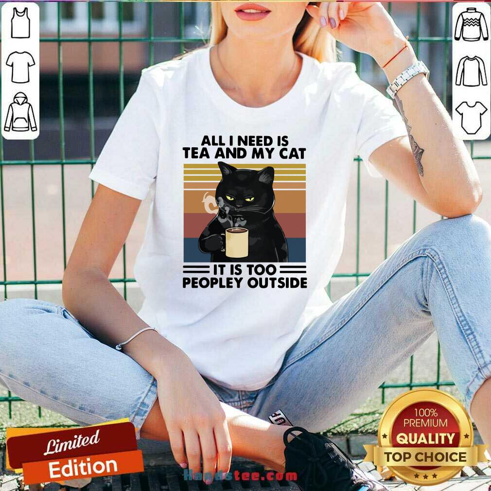 Good Black Cat Drinking Coffee All I Need Is Tea And My Cat It Is Too Peopley Outside Vintage V-neck- Design By Handstee.com
