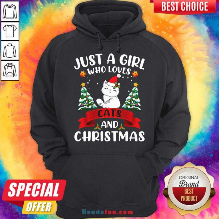Just A Girl Who Loves Cat And Christmas Gift Christmas Hoodie- Design By Handstee.com