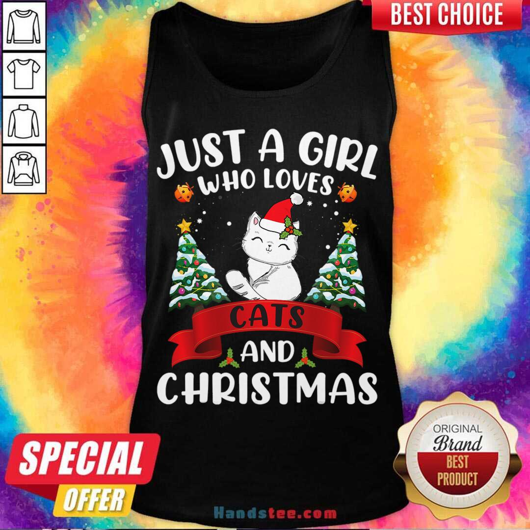 Just A Girl Who Loves Cat And Christmas Gift Christmas Tank-Top- Design By Handstee.com