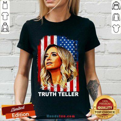 Good Kayleigh Mcenany Truth Teller American Flag V-neck- Design By Handstee.com