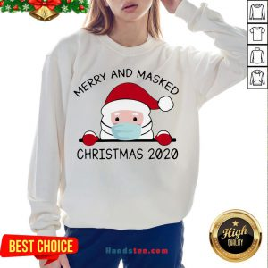 Good Santa Claus Face Mask Merry And Masked Christmas 2020 Sweat Sweatshirt- Design By Handstee.com