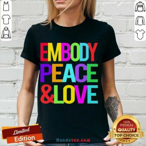 Happy Embody Peace And Love V-neck- Design By Handstee.com