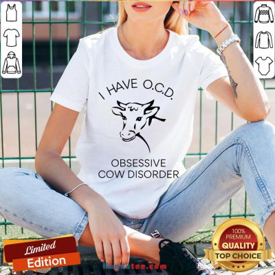 Happy I Have OCD Obsessive Cow Disorder V-neck- Design By Handstee.com