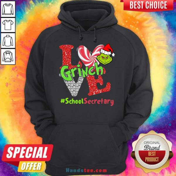 Happy Love Grinch #School Secretary Christmas Hoodie- Design By Handstee.com
