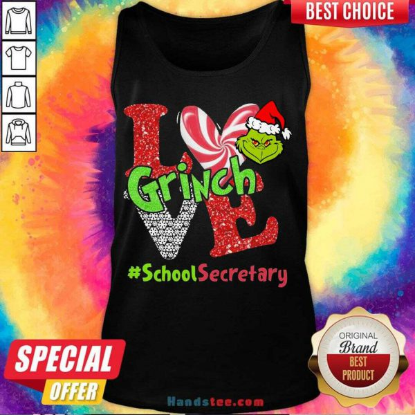 Happy Love Grinch #School Secretary Christmas Tank Top- Design By Handstee.com