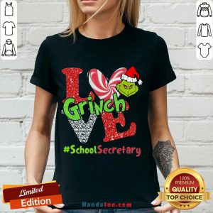 Happy Love Grinch #School Secretary Christmas V-neck- Design By Handstee.com