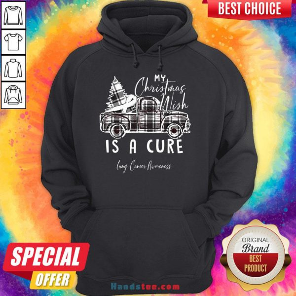 Happy My Christmas Wish Is A Cure Lung Cancer Awareness Pine Ribbon Lung Cancer Awareness Hoodie- Design By Handstee.com
