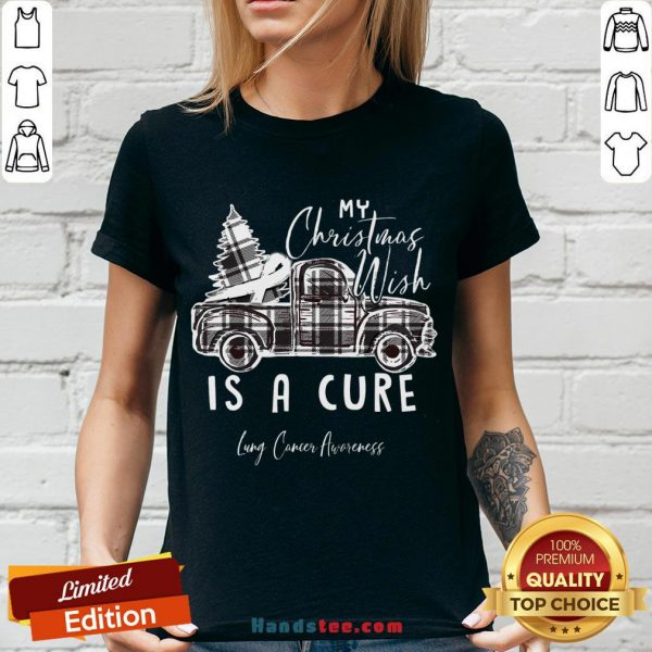 Happy My Christmas Wish Is A Cure Lung Cancer Awareness Pine Ribbon Lung Cancer Awareness V-neck- Design By Handstee.com