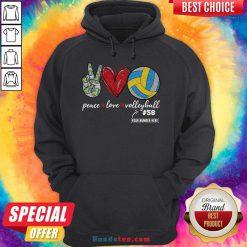 Happy Peace Love Volleyball 58 Hoodie- Design By Handstee.com