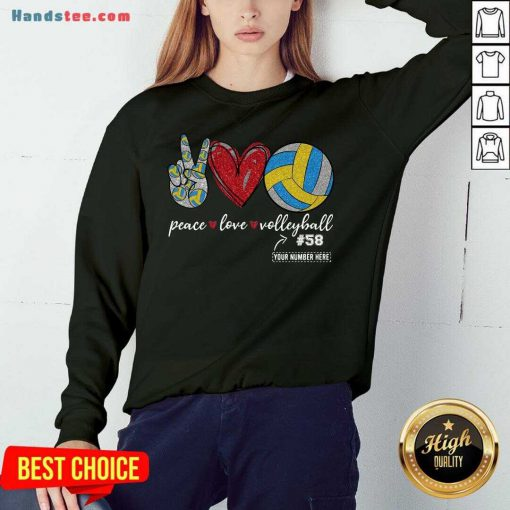 Happy Peace Love Volleyball 58 Sweatshirt- Design By Handstee.com