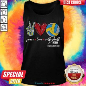 Happy Peace Love Volleyball 58 Tank Top- Design By Handstee.com