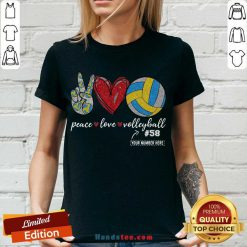Happy Peace Love Volleyball 58 V-neck- Design By Handstee.com