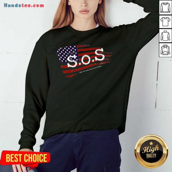 Happy S.O.S. American Grunge Flag Sweatshirt- Design By Handstee.com