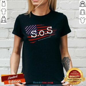 Happy S.O.S. American Grunge Flag V-neck- Design By Handstee.com