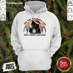 Happy Santa Black Cat On The Naughty List And I Regret Nothing Vintage Retro Hoodie- Design By Handstee.com