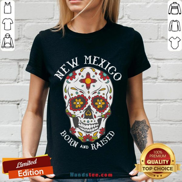 Happy Sugar Skull New Mexico Born And Raised V-neck- Design By Handstee.com