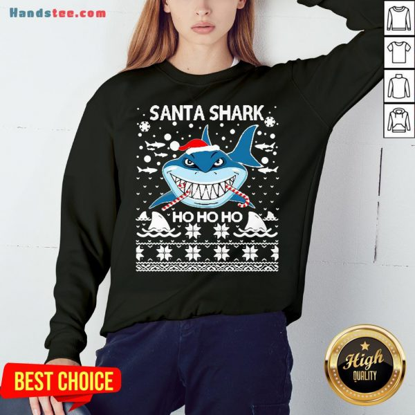 Hot Merry Christmas Santa Shark Ho Ho Ho Sweatshirt- Design By Handstee.com