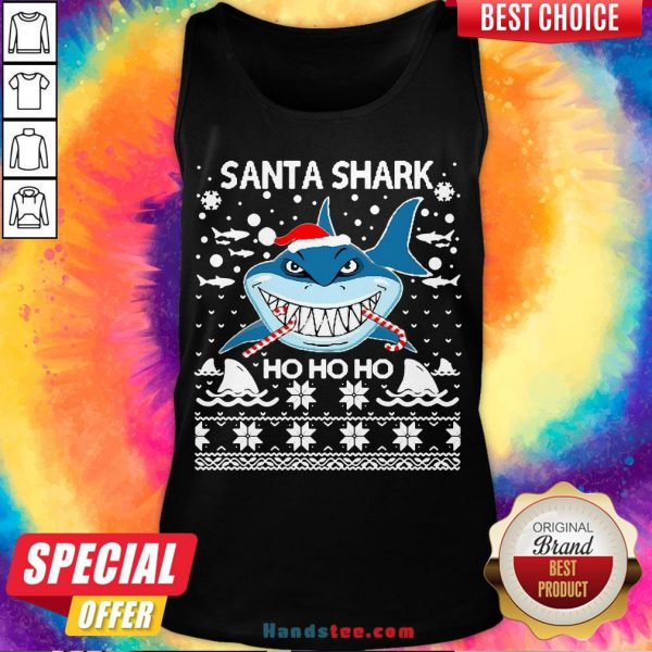 Hot Merry Christmas Santa Shark Ho Ho Ho Tank Top- Design By Handstee.com