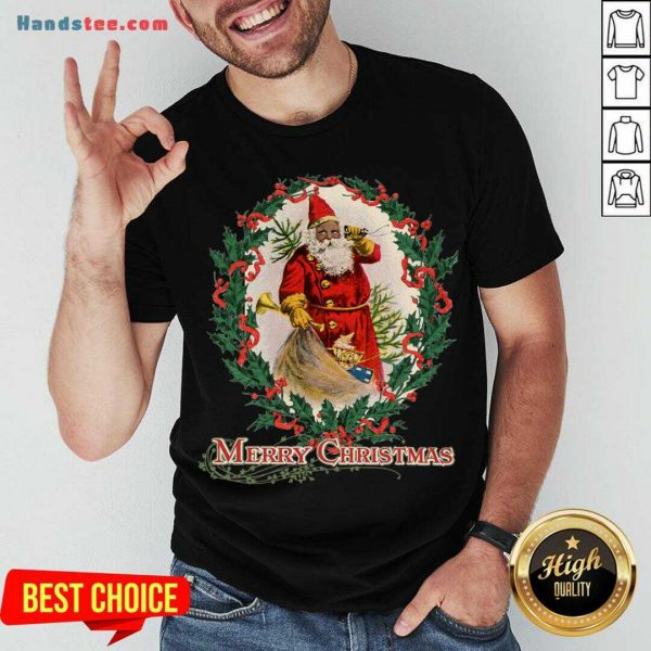 Nice African American Santa Claus Antique Vintage Merry Christmas Shirt- Design By Handstee.com