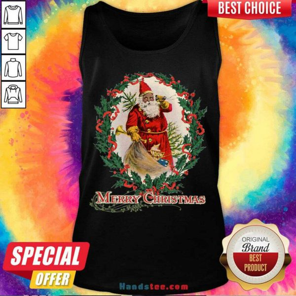 Nice African American Santa Claus Antique Vintage Merry Christmas Tank Top- Design By Handstee.com