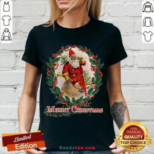 Nice African American Santa Claus Antique Vintage Merry Christmas V-neck- Design By Handstee.com
