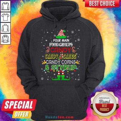 Four Main Food Groups Sweatmeat Lover Elf Christmas Holiday Hoodie- Design By Handstee.com