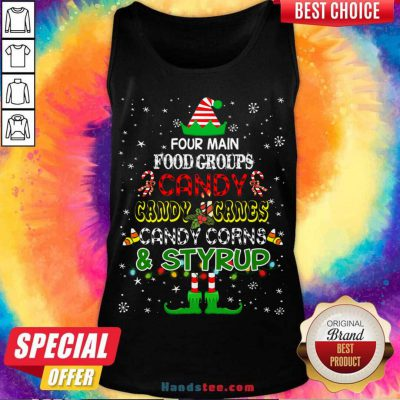 Four Main Food Groups Sweatmeat Lover Elf Christmas Holiday Tank-Top- Design By Handstee.com